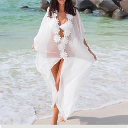 Dress Swimwear Bikini Cover Australia - Honeymoon Dress Beach Cover Up Dress Lace Beach Tunic Pareos Swimwear Women 2019 Bikini Cover Up Chiffon Swimsuit Cover Up J190623