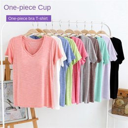 chest clothes UK - Women's cotton bamboo cotton pajamas top half sleeve thin home clothes with chest pad free bra T-shirt bra short sleeve t-shirt