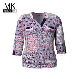 Quality Graphic Tees Australia - Miaoke Old Ladies Plus Size Vintage Elegant Print T-shirt High Quality Clothing Fashion Graphic Tees Women Cotton Mom Tops Y19042101