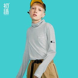 Long Sleeve Tees For Women Australia - Toyouth Striped Turtle Neck T-shirts Long Sleeve T-shirt For Women Casual Korean Ladies Tees Autumn 2019 Tops Slim Tee Shirts J190508