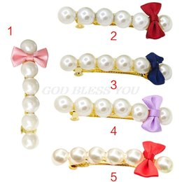 $enCountryForm.capitalKeyWord Australia - Literary Girls Metal Alloy French Hair Clips Faux Pearl Mini Candy Color Bow Tie Decor Ponytail Holder Pigtail Spring Hairgrips