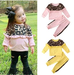 wholesale girls tracksuit Canada - 2020 Spring lace leopard print baby suits sweet girls tracksuit long sleeve T shirt+Pants 2pcs kids designer clothes girls sets