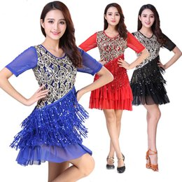 sequin stage clothes Australia - Sequins Tassel Sexy Latin Dress Women Dance Competition Dresses Square Stage Performance Costumes Latin Dance Clothes