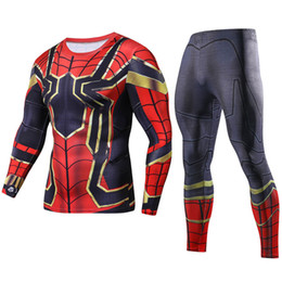 Wholesale nylon costume male resale online - Iron Spiderman d Printed Long T Set Men Compression Shirts New Crossfit Tops For Male Cosplay Costume Stes Q190518