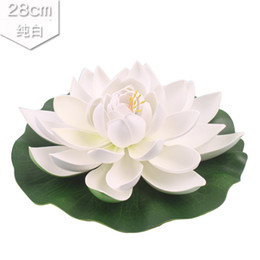white floating lotus flower artificial UK - 1pcs 28cm Artificial Lotus Flowers Water Lily Floating Pool Plants Wedding Home Party Decoration Flower