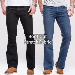 $enCountryForm.capitalKeyWord Australia - Mens Jeans Boot Cut Leg Slightly Flared Slim Fit Black Mid Waist Male Casual Jeans Designer Classic Stretch Denim Pants SH190825