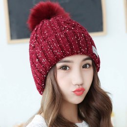Wholesale Korean Style Skullies Beanies Hat Female Knitted Fur Pompom Women s Winter Hats Skullies Beanies