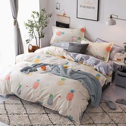 $enCountryForm.capitalKeyWord Australia - 3Pcs set Multiple Size Cartoon Fruit Pineapple Printing Bedding Set Believe Miracles Bed Duvet Cover Bedspreads without Sheet