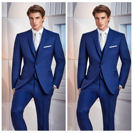Navy Suits For Sale Australia - Hot Sale 2020 Custom Men Suits For Wedding Slim Fit Groomsmen Tuxedos Three Pieces Handsome Business Prom Party Wear(Jacket+Pants+Vest+Tie)