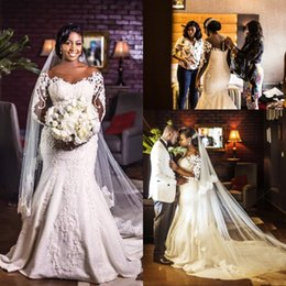 $enCountryForm.capitalKeyWord Australia - Wholesales- Gorgeous Long Sleeve Lace Mermaid Wedding Gowns Plus Size African Covered Button Long Bridal Wedding Dress With Beads Appliques