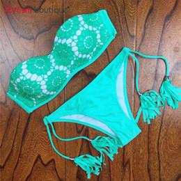$enCountryForm.capitalKeyWord Australia - 2019 Floral Print Swimwear Women Bikinis Set Crochet Lace Swimsuit Strapless Push Up Bandeau Biquinis Beachwear Bathing Suit