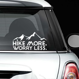 Wholesale 15 cm Hike More Worry Less Vinyl Decal Car Window Vehicle Sticker Nature Hiking Motorcycle SUVs Bumper Modern Decal