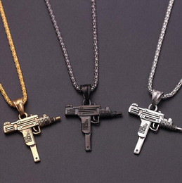 necklaces pendants Australia - Chicken Dinner Pistol Hip Hop Men's Necklace Gold And Silver Black UZI Uz Charge Machine Pistol Gun Pendant Necklace