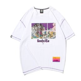 a05f299a mens designer t shirts t shirt Godzilla printed round neck short-sleeved  men's T-shirt summer large size round neck half sleeve loose top