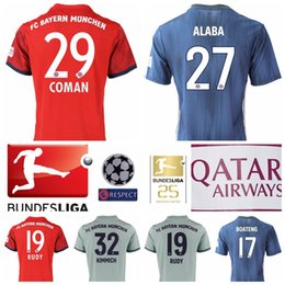 yellow green soccer kits NZ - Men FC 2018 2019 Bundesliga Soccer ALABA Jersey 29 COMAN 24 TOLISSO 32 KIMMICH 19 RUDY Football Shirt Kits Red Custom Name Number