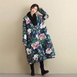 Floral Parka Australia - LZJN Plus Size Winter Jacket Women Thin Parka Loose Wadded Coat Chinese Windbreaker Floral Long Trenchcoat for Lady MF-58