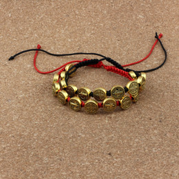 Women pure gold bracelet online shopping - 10pcs Antique gold Alloy Benedict Medal beads Red black Chinese knot line Pure hand woven Adjustable Bracelet for men and women