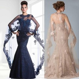 Discount janique black lace dress Janique Mermaid Lace Evening Dresses Long With Wrap Jacket Sweetheart Beaded Appliques Backless Two Pieces Prom Dress Ce