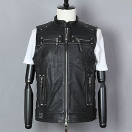 black sleeveless jacket men NZ - Fashion 2020 Professional Motorcycle Biker Vest Cowskin Genuine Leather Jacket Men Rivet Black Stand Coat sleeveless