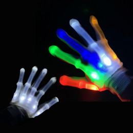 LED Flashing Gloves Glow Light Up Finger Lighting Dance Party Decoration Glow Party Supplies Choreography Props Christmas on Sale