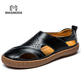 Metal tie for Men online shopping - MAISMODA Summer Genuine Leather Men s Slippers Fashion Metal Buckle Non slip Sandals Beach Shoes For Men YL267