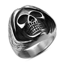 $enCountryForm.capitalKeyWord Australia - Punk Short Hair Skull Ring For Men Casting Stainless Steel Silver Color Hip Hop Rocky Male Jewelry Skeleton Alliance