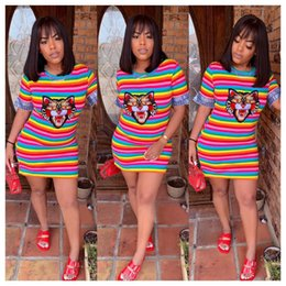 a515de987c3 Rainbow maxi dResses online shopping - W8174 Women s Clothes Leisure Time Rainbow  Stripe Tiger Short