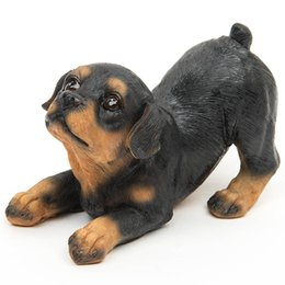 Wholesale 2017 Resin Rottweiler Dogs Micro Landscape Decor Pet Puppy Miniature Home Garden Ornament Bonsai Terrarium Figurines Home Decor