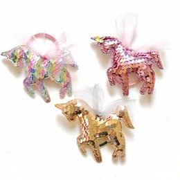 $enCountryForm.capitalKeyWord NZ - Unicorn Sparkle Sequined Hair Bands Kids Hair Clip Jewelry Mesh Bow Elastic Ribbon Hairband Children Gifts Ponytail Girls Hair Rope HHA439