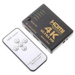 Venta al por mayor de Interruptor 3D 4K 1080P HDMI Switcher Selector 5Port del eje del divisor + IR remoto para televisión de alta definición