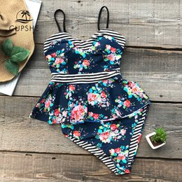 $enCountryForm.capitalKeyWord Australia - Cupshe Flower Print Striped High-waisted Bikini Set Women Reversible Ruffle Lining 2 Pieces Swimsuit 2019 Beach New Swimwear Y19062801