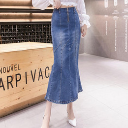 Long taiL skirts online shopping - Fish Tail Denim Skirt Women Mermaid Trumpet Long Skirt Calf Length Zipper Empire High Waist Jeans plus size xl r2073