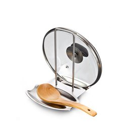 Wholesale Stainless Steel Pan Pot Rack Cover Lid Rest Stand Spoon Sponge Holder Stove Rests Organizer Storage Kitchen Goods Accessories