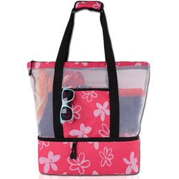 Tote Coolers Australia - Beach Cooler Bag New Family Large Capacity Mesh Insulated Beach Cooler Tote Custom Beach Cooler Bag Durable Outdoor Picnic Bags Travel Bag