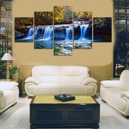 $enCountryForm.capitalKeyWord Australia - 5pcs set Modern Hd Waterfall Picture Canvas Oil Painting Wall Art Pictures For Living Room Cuadros Home Decoration No Frame