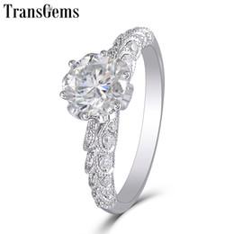 $enCountryForm.capitalKeyWord Australia - Transgems New Hand Made Moissanite Ring For Women Center 1ct 6.5mm F Color Moissanite Diamond 14k 585 White Gold Ring Y19032201