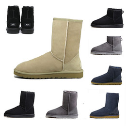 Newest fashioN boots online shopping - 2019 Sale Newest WGG classic Fashion Knee Boots Half Ankle boots Australia Black Grey Chestnut Navy Blue Red Women Girl Snow Boots US5