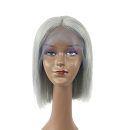 Chinese  Fashion beauty quality new arrival best grade unprocessed virgin remy human hair medium grey silky straight full lace wig cheap for women manufacturers