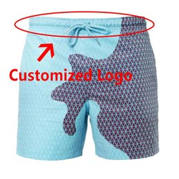 swimwear men slip Canada - Customized Logo Men's Swimming Trunks Color Changing Beach Shorts Swimwear Men 2020 For Man Swimsuit Male Slip Briefs Suit Sexy