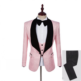 men tuxedo pink black images Australia - Fashion Designe Pink Embossing Groom Tuxedos Black Lapel Groomsmen Men Wedding Dress Man Jacket Blazer 3 Piece Suit(Jacket+Pants+Vest+Tie)60