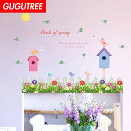 nursery flower decals Australia - Decorate Home flower bird cartoon art wall sticker decoration Decals mural painting Removable Decor Wallpaper G-1621