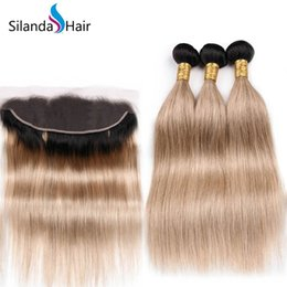 Good ombre weave online shopping - Silanda Hair Good Quality Ombre Color T B Straight Remy Human Hair Weaves Bundles With X4 Lace Frontal Closure