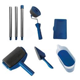 Ingrosso 8pcs / set Set di strumenti per pennello a rullo fai-da-te Set per uso domestico multifunzionale Maniglia decorativa per muro Edger floccato Strumento per pittura Brus