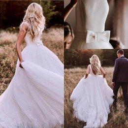 $enCountryForm.capitalKeyWord Australia - Vestidos De Novia Open Back Tulle Wedding Dress Long Elegant Satin Wedding Boho Wedding Gowns with Bow Belt