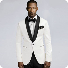 latest suits for men Canada - Latest Coat Pant Designs White Wedding Suits for Men 2Piece Groom Tuxedo Groomsmen Suit Blazer Jacket Black Pants Costume Homme Prom Party