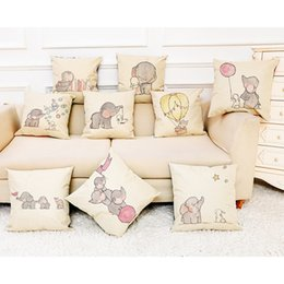 cute animal pillowcase Canada - Hot Sale Linen Pillow Covers Cute Cartoon Animals Cushion Cover For Kids Bedroom Decor Throw Pillowcase Sofa Seat Pillow Case