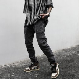 High street Grey Black jeans stretch Masculino Lavados Multi-pocket Denim Trousers Hip Hop jeans rasgados Pants Macacões