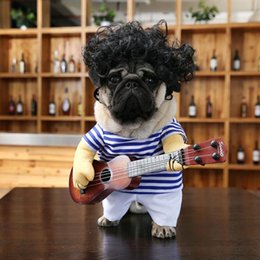 blue hair costumes Australia - Pet Guitar Costume Dog Funny Costume Cat Clothes Dogs Cats Super Crazy Funny Guitarist Style Pet Clothes Halloween Christmas Best Presents