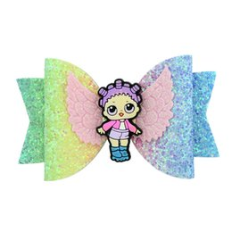 Baby Sequin Hair Clips Wholesale UK - Cartoon Surprise Girls Glitter Sequins Bowknot Hairpin Baby Shiny Hair Clips Kids Hair Bow Kids Newborn Barrettes Hair Accessories A4406