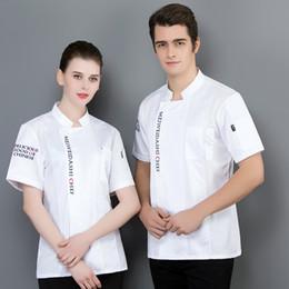 3eb136e69 High Quality Chef Short-sleeve Jacket Solid Color Kitchen Restaurant  Uniform Hotel Barbershop Men Women Ladies Chef's Shirt